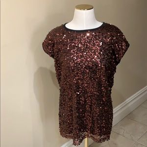 Forever 21 brown black knit sequin blouse top